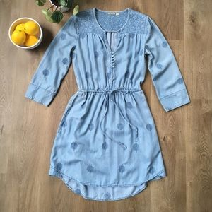 Holding Horses Tencel Embroidered Blue Jean Dress